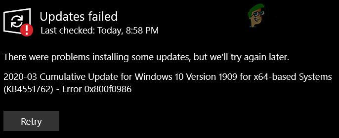 [FIX] Windows konnte das folgende Update mit Fehler 0x800F0986 nicht installieren Install