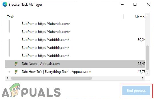 """Wie deaktiviere ich """"Prozess beenden"""" im Browser-Task-Manager auf Microsoft Edge?"""