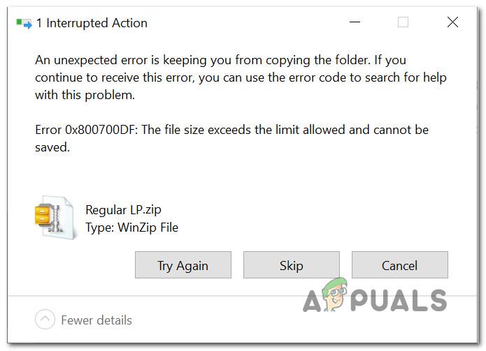 Beheben von Dateigröße überschreitet Grenzwertfehler 0x800700DF unter Windows 10