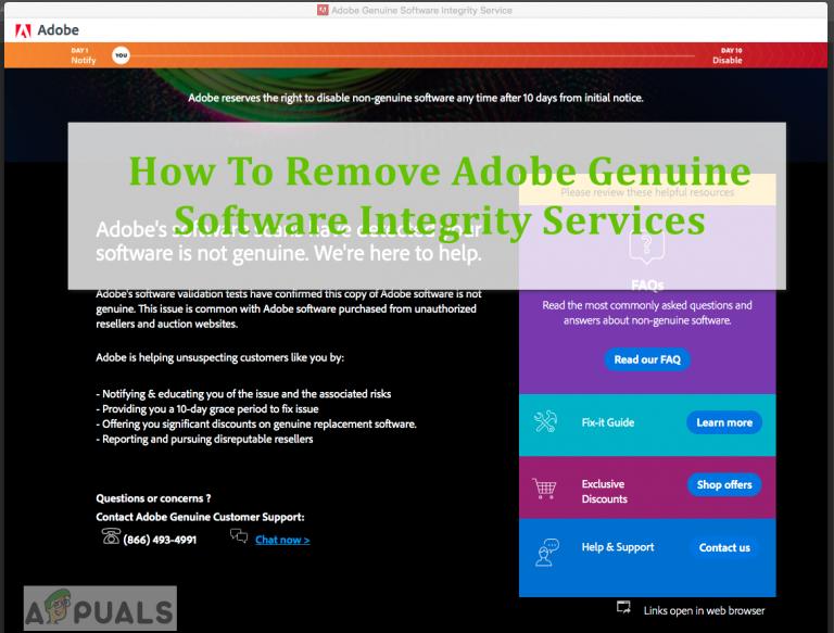 So entfernen Sie Original-Software-Integritätsdienste von Adobe Adobe