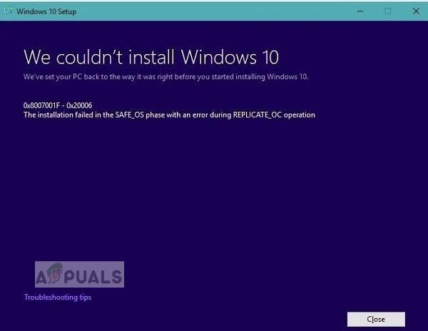 [FIX] Windows 10-Update schlägt weiterhin fehl – '0x8007001f – 0x20006'