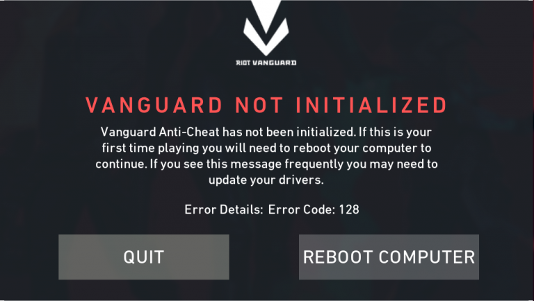 So beheben Sie den Fehlercode 128 von Valorant Vanguard nicht initialisiert