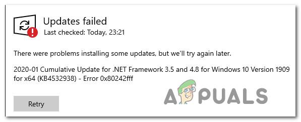 Fix: Windows 10 Updates fehlgeschlagen Fehler 0X80242FFF