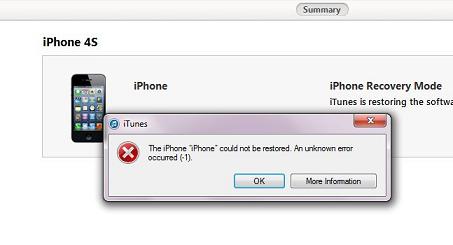 Fix: iPhone-Wiederherstellungsproblem unbekannter Fehler 1