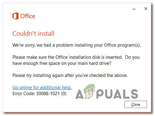Office gibt freien Speicherplatz und Disk-Einfügungsfehler 30088-1021 (0) zurück [Easy Fixes]