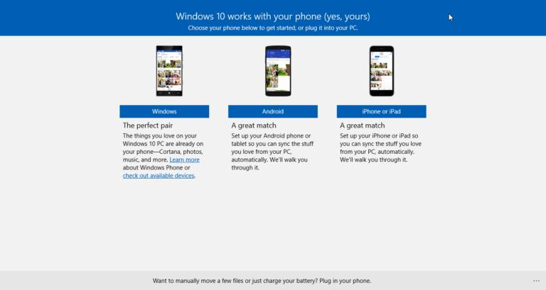 Synchronisieren Sie Ihr Android-Gerät mit Windows 10