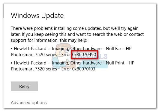 Fix: Windows Update-Fehler 0x80070490
