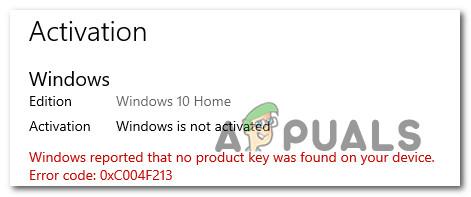 [FIX] Windows-Aktivierungsfehler 0XC004F213 unter Windows 10