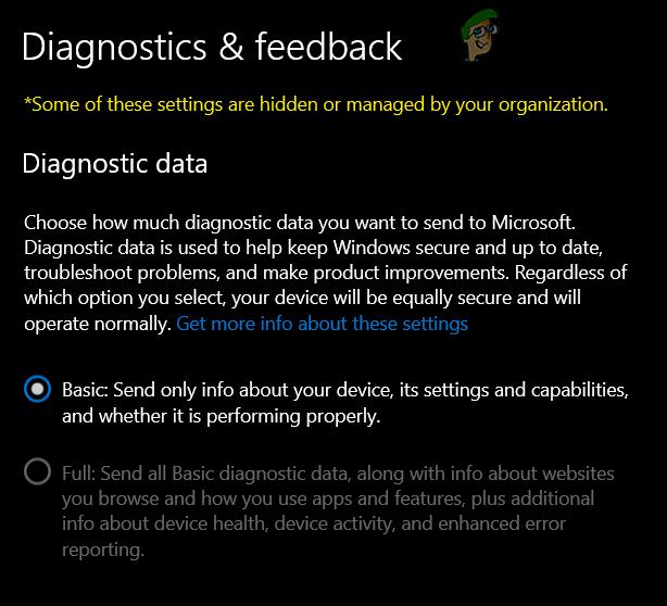 """[FIX] Diagnosedaten können in Windows 10 nicht auf """"Vollständig"""" geändert werden"""