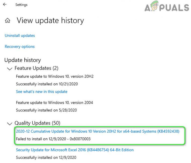Fix: Kumulatives Update Dezember 2020 – KB4592438 konnte nicht installiert werden