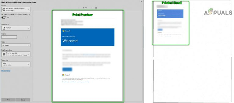 Fix: Mail-App druckt sehr klein in einer Ecke der Seite