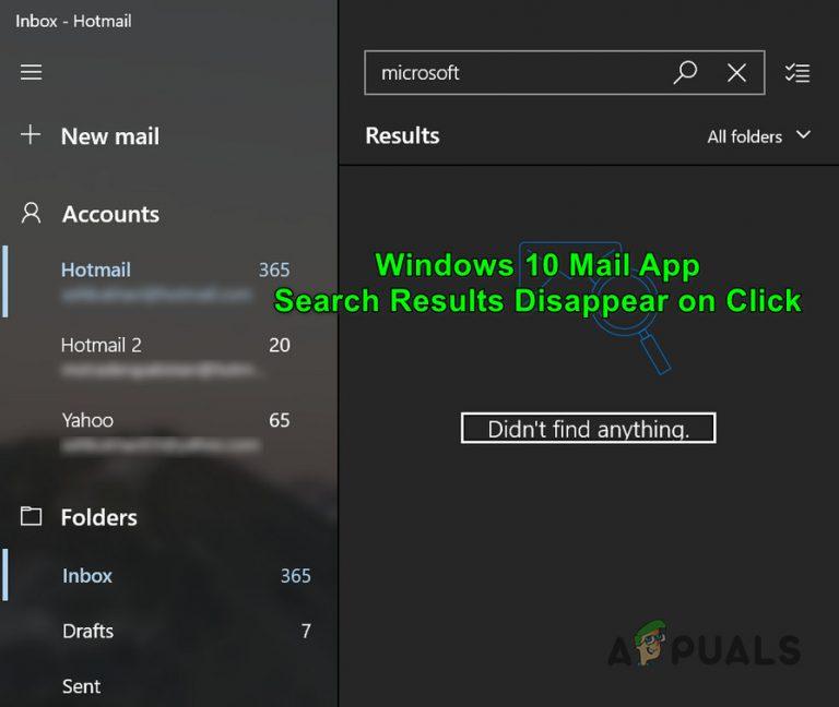 [FIX] E-Mail-App Suchergebnisse verschwinden bei Klick