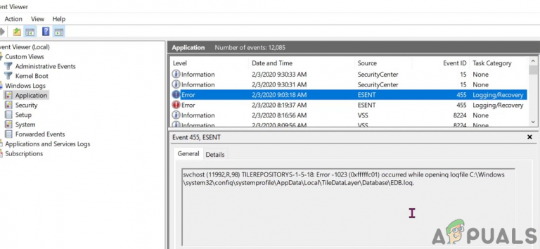 Fix: Ereignis-ID 455 ESENT-Fehler in Windows 10 1903