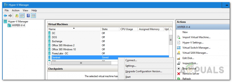 Fix: Hyper-V Virtual Machine bleibt im gespeicherten Zustand hängen