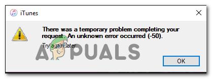 """So beheben Sie den iTunes-Fehlercode -50 unter Windows """"vorübergehendes Problem"""""""