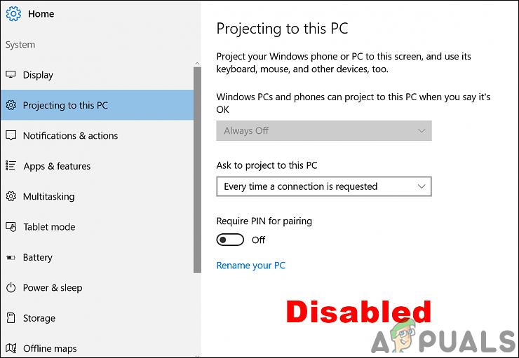 Wie aktiviere oder deaktiviere ich die Projektion auf diesen PC in Windows 10?