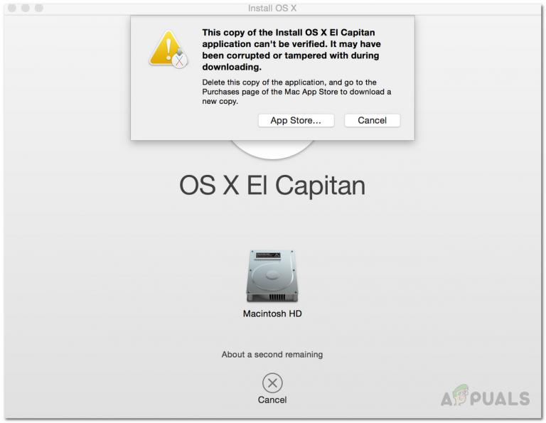[FIX] Diese Kopie der Anwendung zur Installation von OS X El Capitan kann nicht überprüft werden