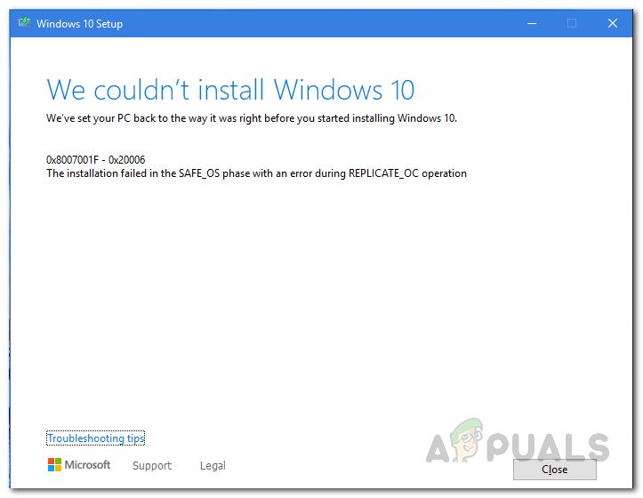 So beheben Sie, dass die Installation von Windows 10 in SAFE_OS während des REPLICATE_OC-Vorgangs fehlgeschlagen ist