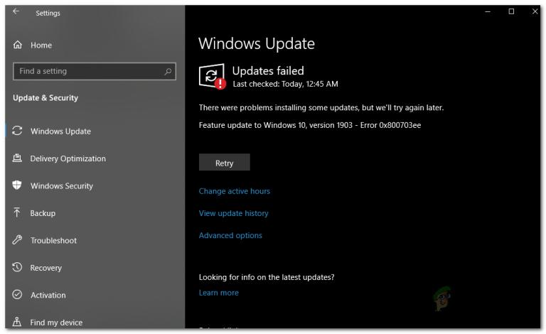 Wie behebt man den Windows 10 Update-Fehler 0x800703ee?